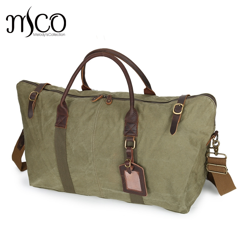 Melodycollection Canvas Leather Men Travel Bags Carry on Luggage Bags Men Duffel Bags Travel Tote Large Weekend Bag aosbos fashion portable insulated canvas lunch bag thermal food picnic lunch bags for women kids men cooler lunch box bag tote