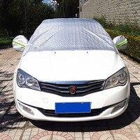 3D Seamless Anti UV Sun Shade Dust Rain Snow Resistant Half Car Cover For Auto Saloon