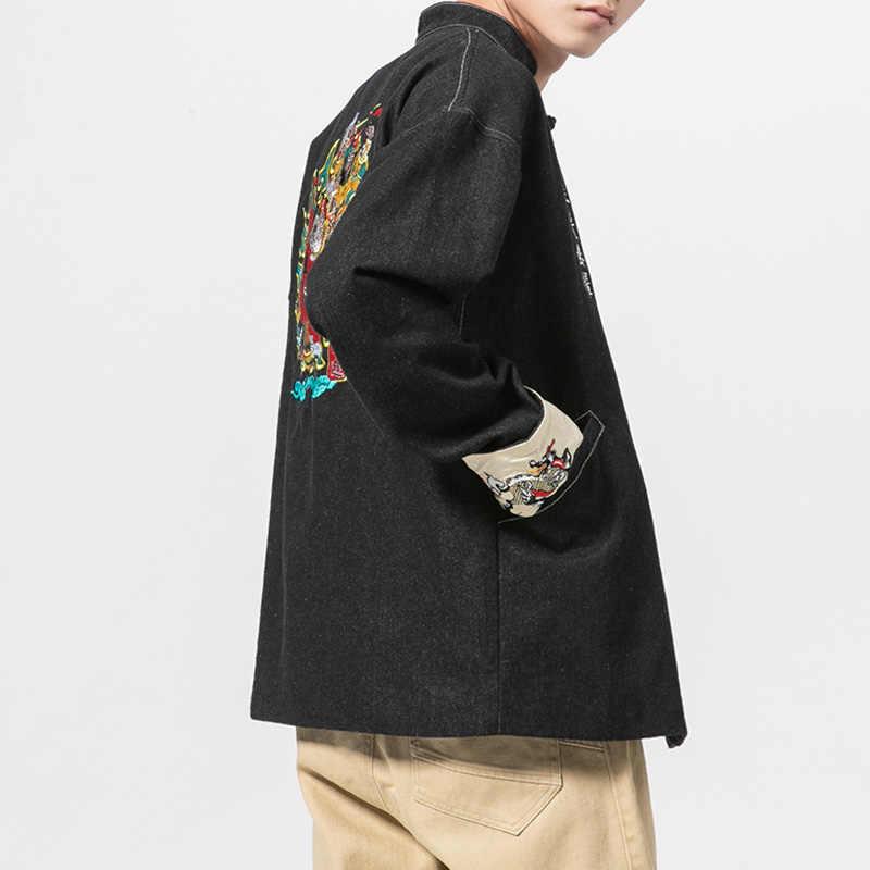 Aolamegs デニムジャケット男性中国刺繍カウボーイ男性のジャケットハイストリートファッションプラスサイズ生き抜く男性ストリート