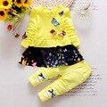 2016 Мода весна осень девочка бабочка набор одежды с длинным рукавом наборы Топы + брюки 2 шт. малыша младенца установленный комплект одежды