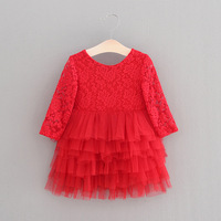 Everweekend Kids Girls Red Color Tutu Lace Christmas Princess Dress Baby Girls Embroidery Flowers Bow Layred