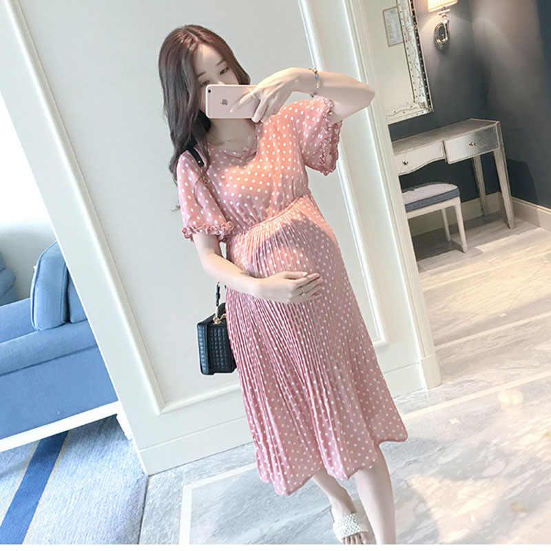 ... BONJEAN Pregnant Women Midi Pleated Chiffon Dress Pink Polka Dots  Summer Pregnancy Clothes Loose Plus Size ... ab4fade38795