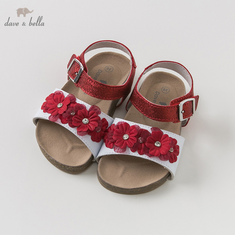 DB10248 Dave Bella Summer Baby Girl Sandals New Born  Infant Shoes Girl Wine Red Sandals Princesss Shoes Floral