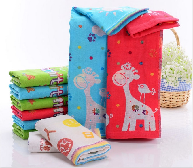 4pcs/lot Cotton Baby Tower 3 Layers Gauze Washcloth Infant Wipe Cloth Soft Water Absorption Cartoon Kids Soft Handkerchief