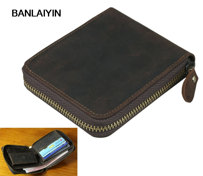 Vintage Crazy Horse Leather Men Wallet Genuine Leather Wallet Zipper Male Wallet Men Purse Money Clips Coin Bag Clutch Brown retro wallet for men genuine leather vintage brand male clutch bag design removed coin purse zip