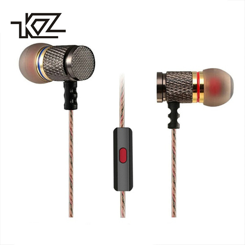 KZ ED2 Metal Earphones with Microphone for Phone Stereo HiFi Professional Headset Bass In Ear Phones Earbuds HD Monitor Earpiece
