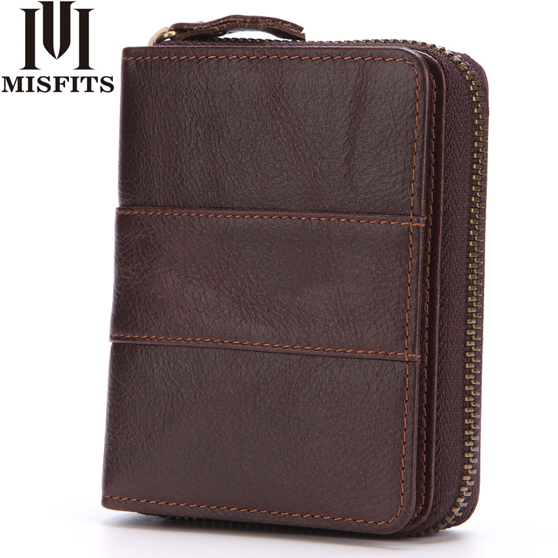 Genuine Leather Men Wallet Fashion Coin Purse Card Holder Short Wallet Portemonnee Male Brand High Quality Cowhide Zipper Clutch