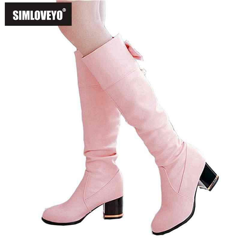 112b6ea4bdb SIMLOVEYO Winter Women Pu leather knee-high boots Round toe Mid Square  Thick Heel Bootas