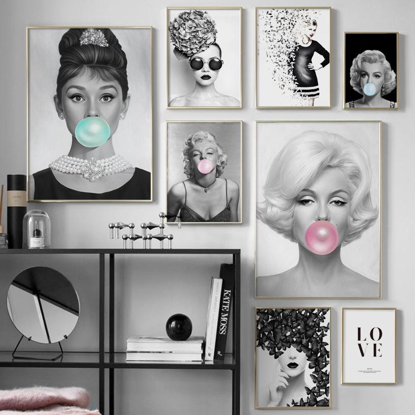 Black White Marilyn Monroe Audrey Hepburn Wall Art Canvas Painting Nordic Posters And Prints Wall Pictures For Living Room Decor