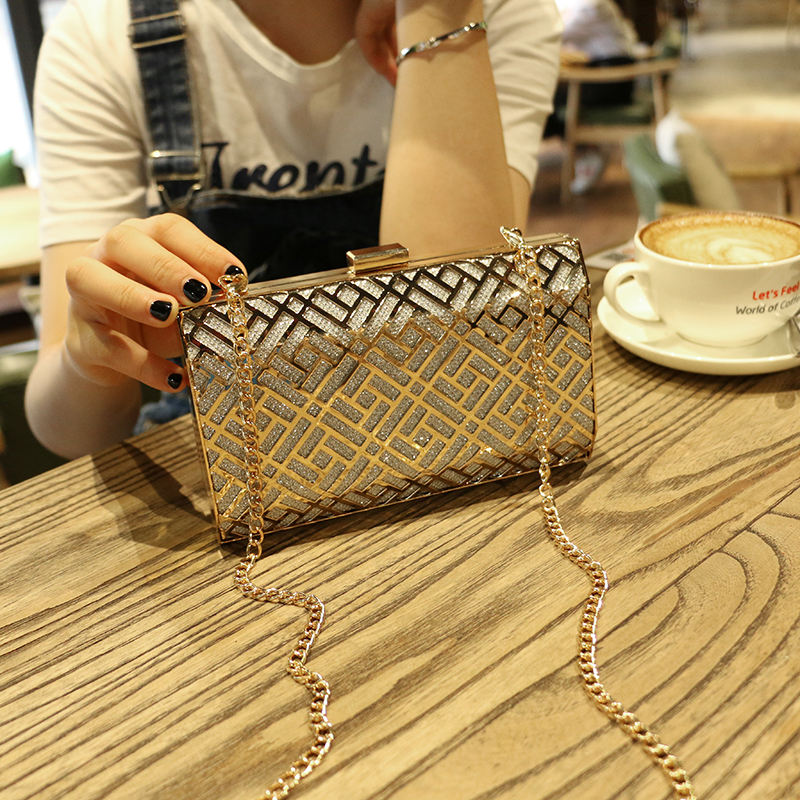 UKQLING Brand Minaudiere Day Clutches Lady Evening Party Hand Bag Gold Purse Women Bag Metal Box Dinner Hand Purses with Chain silver metal lady fashion evening bag silver stylish day clutches prom ladies handbag yls g74
