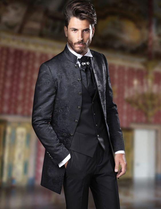 Italian Black Stand Collar Wedding Suits For Men Jacquard Slim Fit Blazer For Groom Custom 3 Piece Floral Suit Men Tuxedo Suit