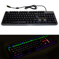 Mechanical Gaming Keyboard Waterproof Metal Backlit Wired 12 Modes Lighting USB IJS998