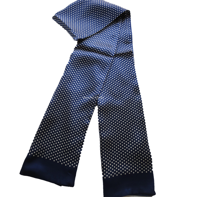 Elegant Men's 100% Pure Silk Scarf Double Layer Long Scarves Male Fashion Neckerchief Blue Red Gray