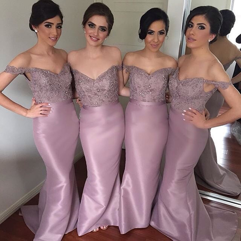 New Arrival Long Light Purple Satin   Bridesmaid     Dresses   with Lace Appliques Beaded Sweep Train Prom   Dress   For Wedding Party