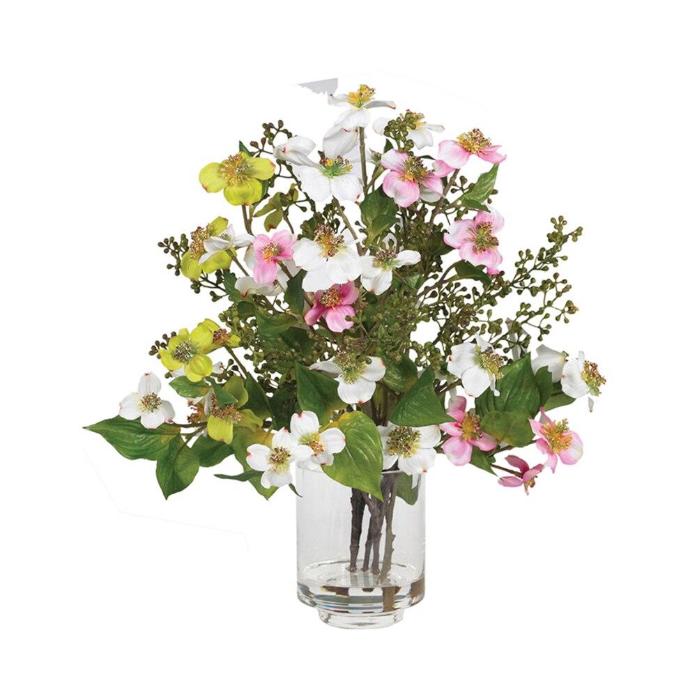 Cut Rate Nearly Natural Dogwood Silk Flower Arrangement Assorted