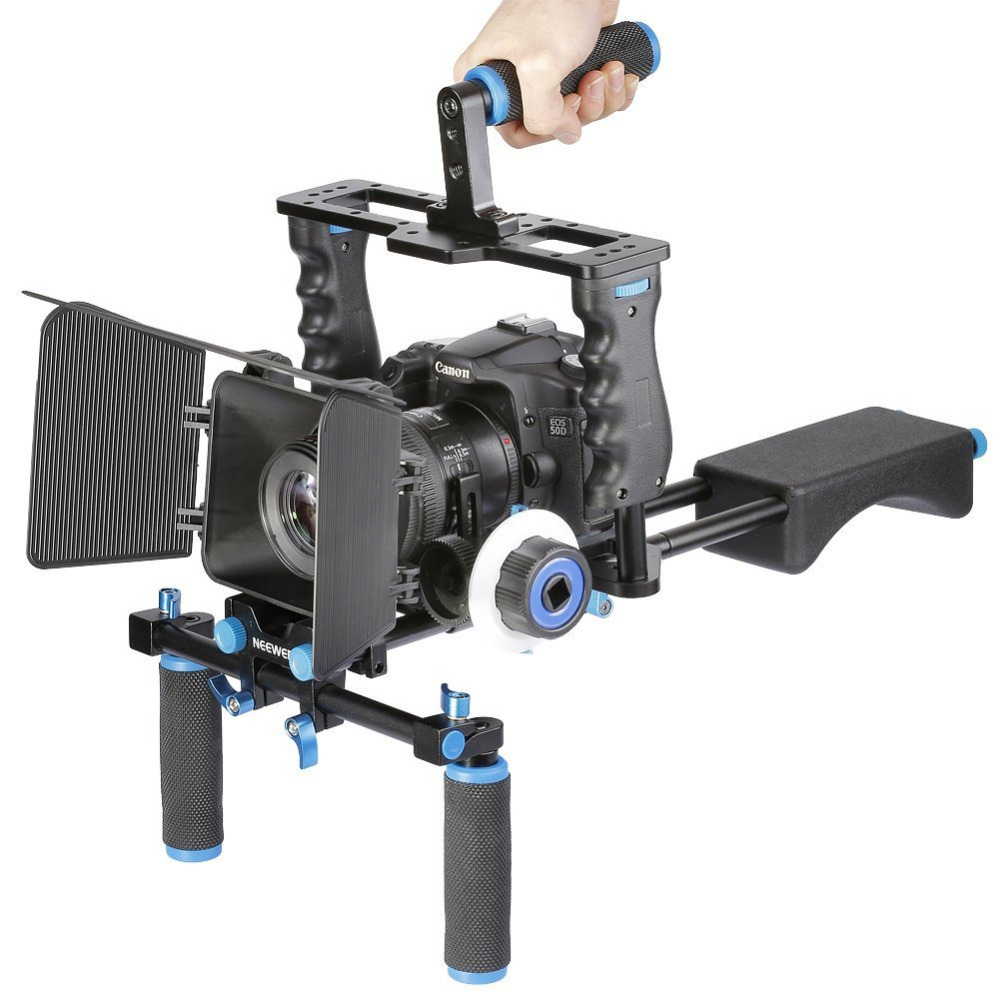 Neewer Aluminum Film Movie Kit System Rig for Canon/Nikon/Pentax/Sony/DSLR Cameras:(1)Video Cage+(1)Top Handle Grip+(2)15mm Rod aluminum dslr camera cage kit support for canon 5d mark ii 7d 60d 15mm rod rig