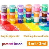 6 renk/set akrilik boyalar çocuk eğitici oyuncak çizim aracı kiti boyama ile duvar tablosu çocuk sanat DIY oyuncaklar mevcut fırça