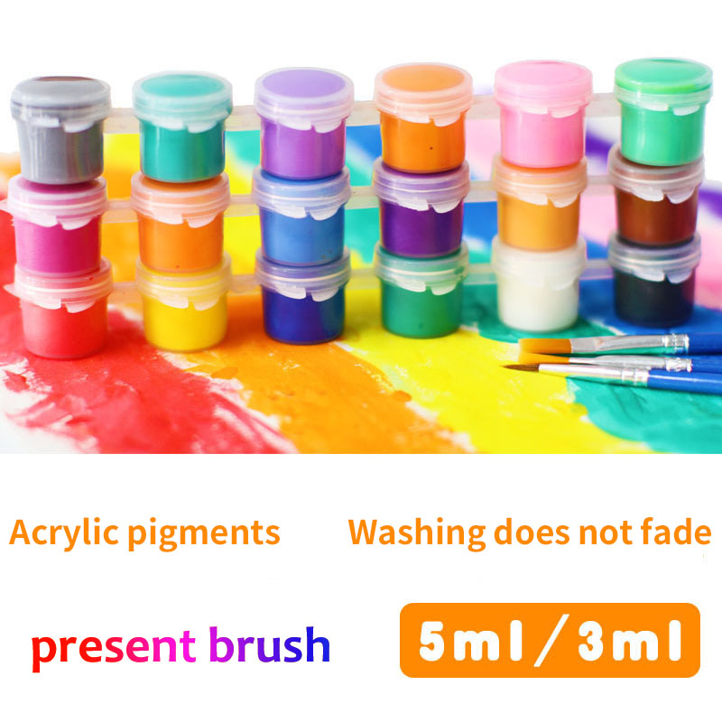6color/set Crylic Paints Children Educational Toy Drawing Tool Kit Painting With Wall Painting Kid Art DIY Toys Present Brush