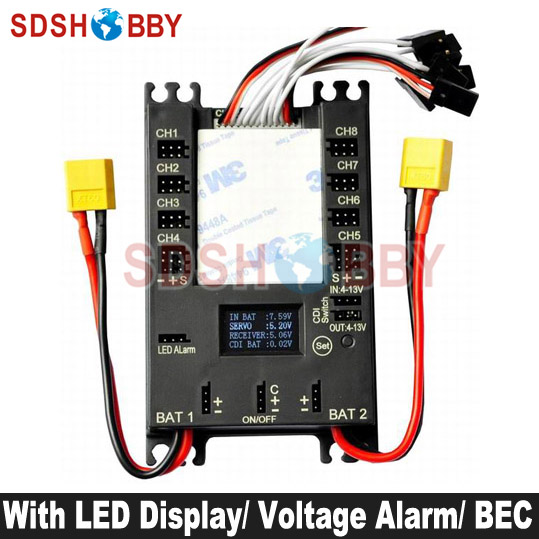 NEW Mini Servo Distribution Board Section Board 4106 with LED Screen Voltage Alarm BEC Black Color
