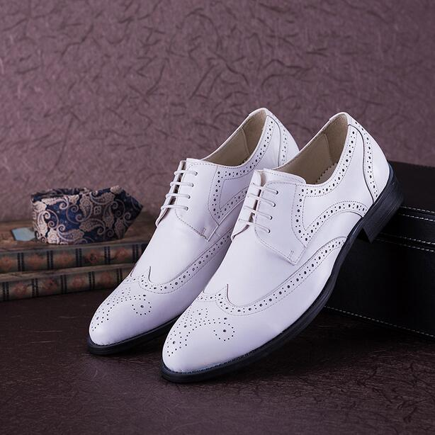 Us 14503 Luxus Mens Flügelspitze Kleid Schuhe Elegante Herren Weiß Hochzeit Schuhe Elegante Mens Formal Prom Schuhe Italienische Boss Brogue
