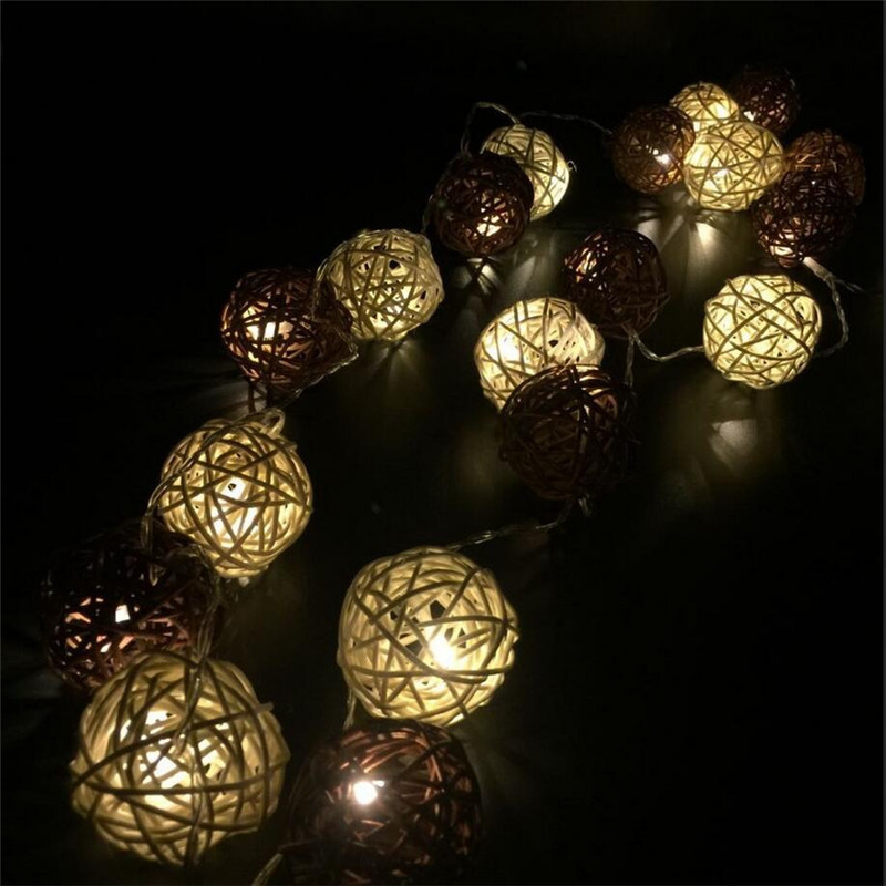 4m 20 Bulbs Sepak Takraw Rattan Balls LED String Garland lights Luminarias Wedding Christmas Party Decoration White/Coffee