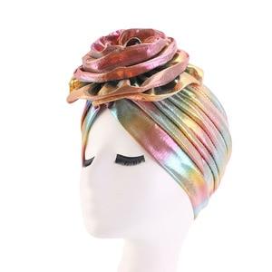 Image 4 - Laser Silky colorful flower turban for Women New Muslim Headscarf Hat Chemo Hat Headwrap Bonnet Salon Hat Accessories