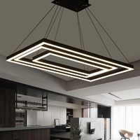 Прямоугольная коробка современные светодио дный светодиодные подвесные светильники для столовой гостиной акриловые cerchio anello lampadario подвес