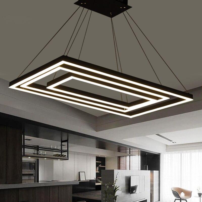 € 202.23 30% de DESCUENTO|Caja Rectangular luces colgantes led modernas  para comedor sala de estar acrílico cerchi anello lampadario lámpara  colgante ...
