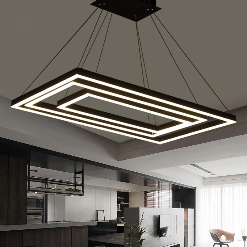 Rectangular box modern led pendant lights for dining livingroom acrylic cerchio anello lampadario pendant lamp lamparas modernas