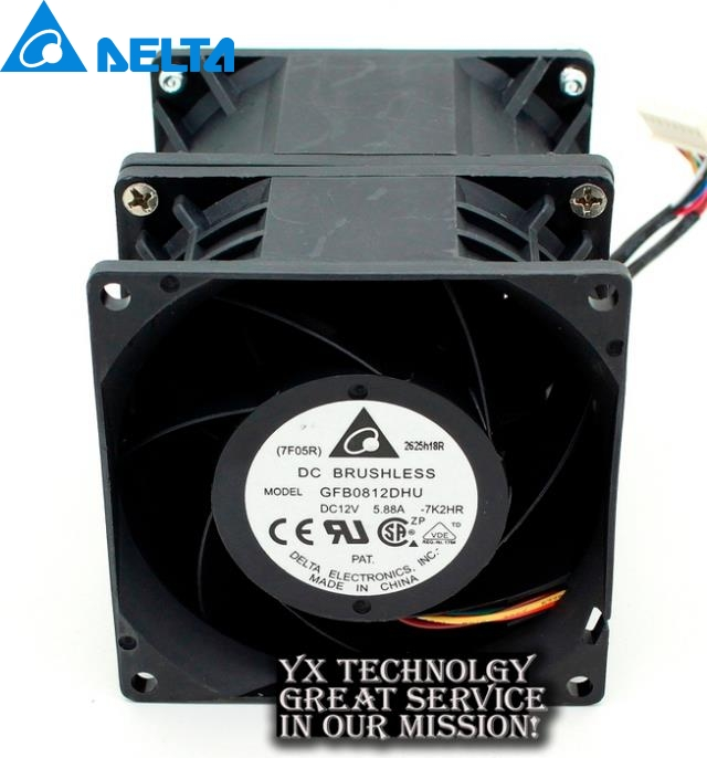 New 8cm high speed car booster fan violence in 8090 12V 5.88A GFB0812DHU for Delta 80*80*90mm delta new ffr1212dhe 12038 12cm super fan 12v 6 3a car booster fan violence 120 120 38mm