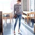 La versión Coreana de la mujer desfile de moda la nueva primavera y el verano 2016 pantalones vaqueros del agujero delgado lápiz pies femeninos pantalones vaqueros
