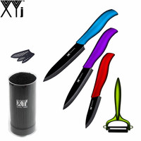 XYJ Brand Ceramic Knife Set Knife Stand 5 Slicing 4 Utility 3 Paring Knife With One