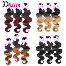 1B Burgundy Brazilian Virgin Hair Body Wave 3 Bundles 1B 30 Two Tone Ombre Human Hair Weave 7A Red Ombre Brazilian Hair Weave