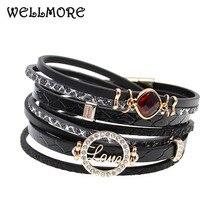 WELLMORE 2017 new style leather bracelets crystal charm bracelets Bohemian bracelets for women party jewelry wholesale