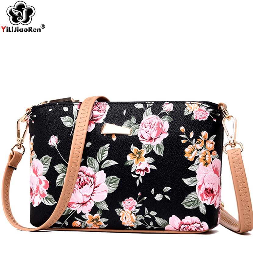 Fashion Flower Crossbody Bags for Women Famous Brand Leather Shoulder Bag Female Simple Messenger Bag Sac A Main Clutch Purse