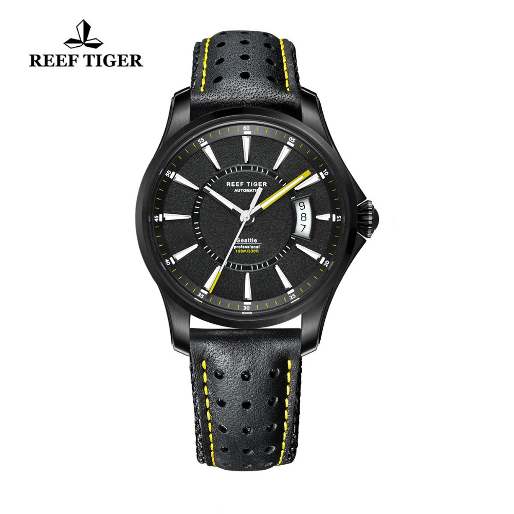 Reef Tiger/RT Watches Seattle Black Steel Case Watch For Mens Big Date Super Luminous Automatic Watches RGA166Reef Tiger/RT Watches Seattle Black Steel Case Watch For Mens Big Date Super Luminous Automatic Watches RGA166