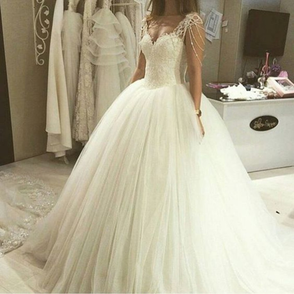Vestidos De Novia Beading Straps Cap Sleeve Lace Appliques Ball Gown Sweetheart Wedding Dress Wedding Dress 2018