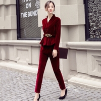 Fashion gold velvet suit female 2018 spring and autumn new long sleeved casual large size corduroy suit two piece /set