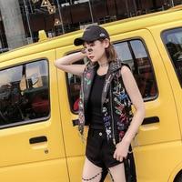 Punk PU Leather Vest Women Coat Slim Graffiti Chains Badges Vests Rivet Vests Streetwear Waistcoat Women Motorcycle Vest Coat