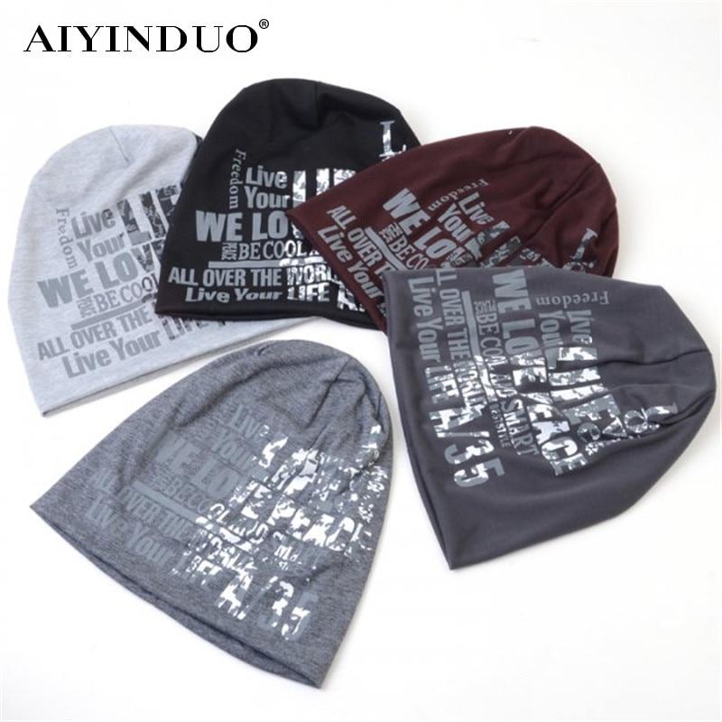 Men and Women Cool Letter Print Autumn Winter Hats Fashion Cotton Skullies & Beanies Street Hip-Pop Style Knitted Head Pile Cap