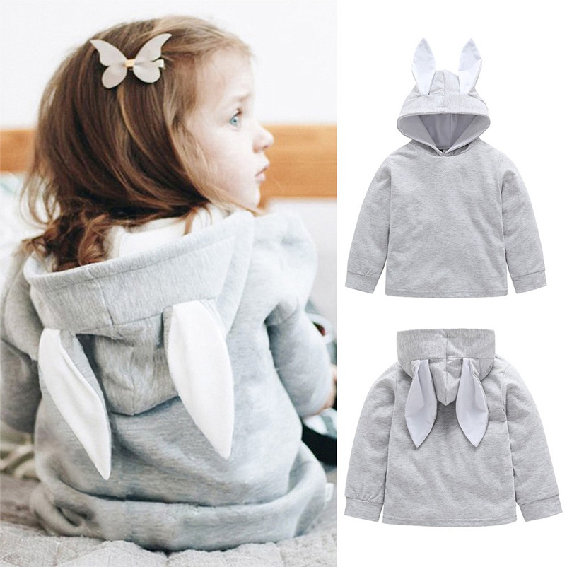 Hoodies Pullover Girls Winter Baby-Boy-Girl Boys Kids Children Full-Cartoon Rabbit Cotton