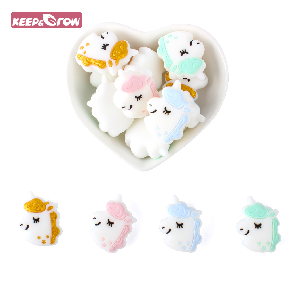 4/8/12pcs Silicone Beads Cute Unicorn Silicone Teething Beads Accessories Silicone Rodent Making Necklace Pendant Baby Products