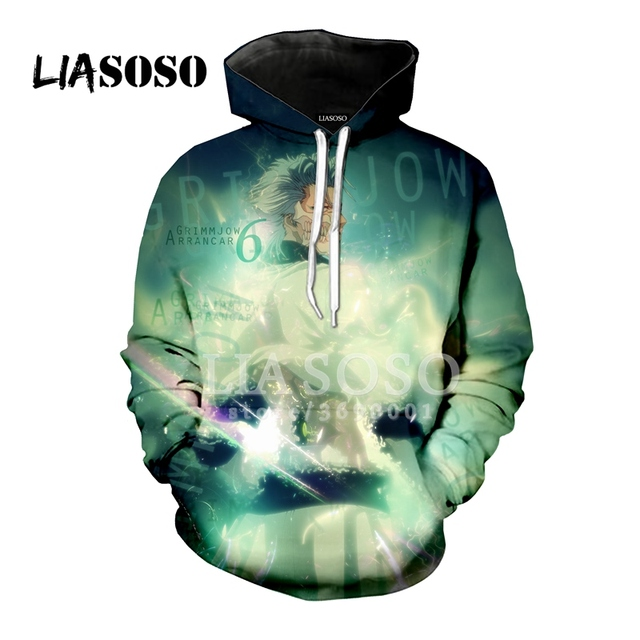LIASOSO New Hoodie Sweatshirt 3D Print Unisex Anime Bleach Espada Grimmjow Jeagerjaques Hipster Casual Cool Brand Tops A156