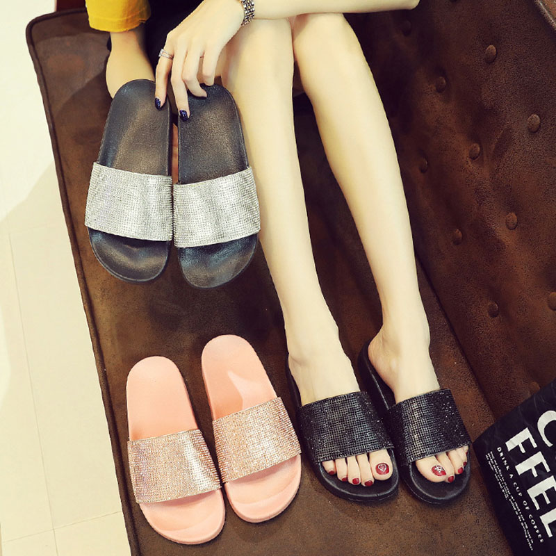 Zapatos mujer verano playa Flip Flops zapatillas mujer Slides sandalias  cristal oro moda mujer Zapatillas planas 0e25348eefac