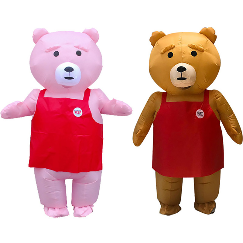 2 couleurs ours en peluche Costume gonflable adulte rose brun belle ours en peluche mascotte Costume noël Carnaval Ainme Cosplay