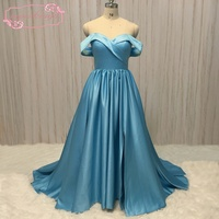 SuperKimJo Casamento Off The Shoulder Prom Dresses 2018 Sweetheart Neckline A Line Satin Blue Prom Gown
