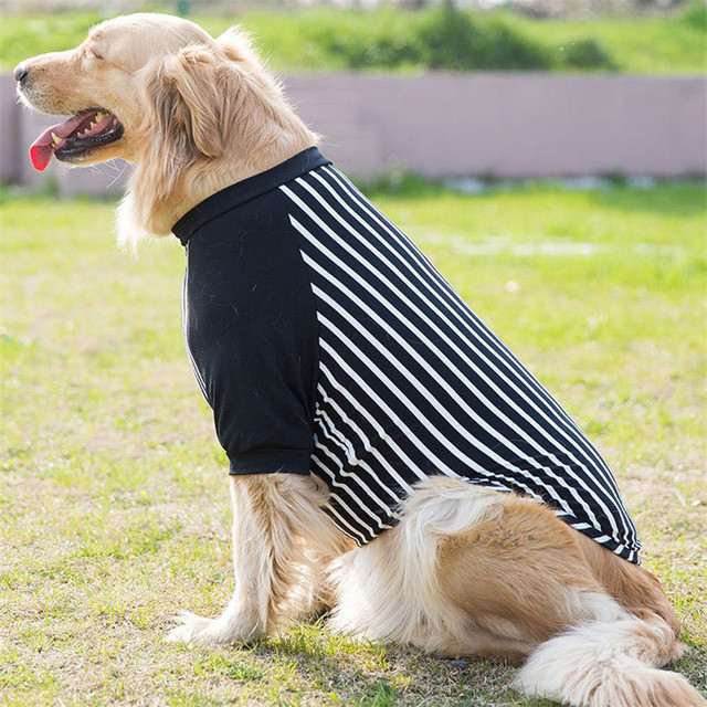 68b508147d Large Size Dog Pet Clothes Striped Golden Retriever Samoyed Dog Clothes Two Feet  Dog Coats Clothes