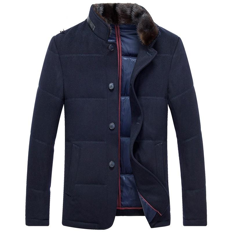DZYS Для мужчин белая утка Подпушка шерстяная куртка съемная выдры меховой воротник Подпушка пальто для Для мужчин мужской