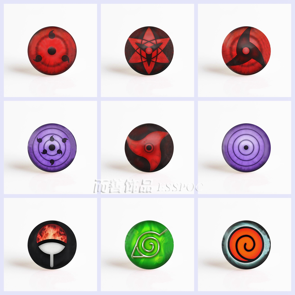 5Pcs/lot Anime Naruto Rinnegan Write Round Eyes 25mm Glass Cabochon Pendant DIY Glass Dome Jewelry Accessories circle