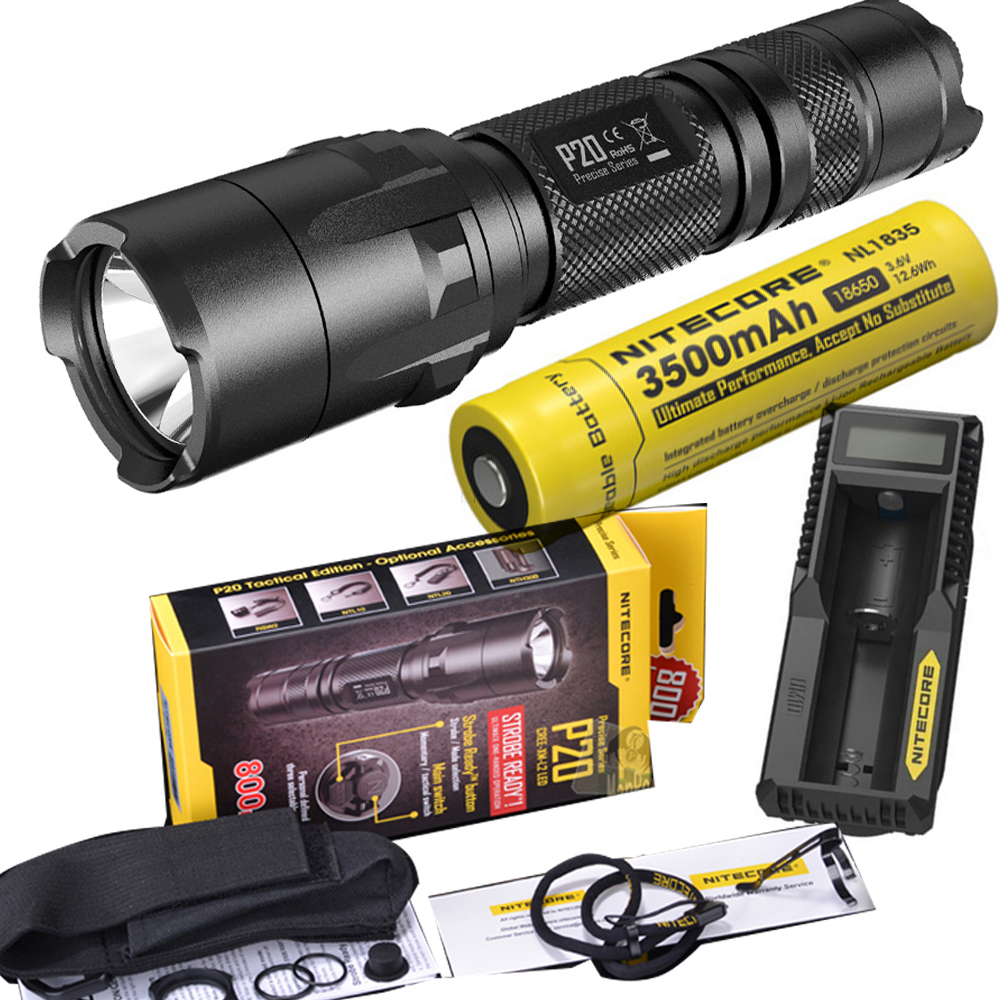 цены NITECORE P20 Flashlight CREE XM-L2 (U2) LED max. 800LM LED torch for outdoor sports +3500mAh 18650 battery and UM10 charger